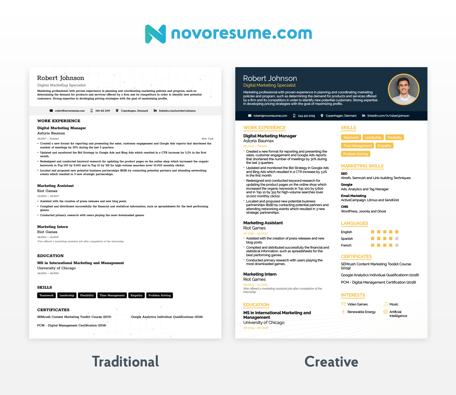 traditional and modern resume samples
